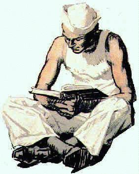 Sailor reading book - from WWI poster